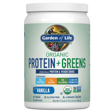 Garden of Life Organic Protein & Greens Powder, Vanilla, 1.1