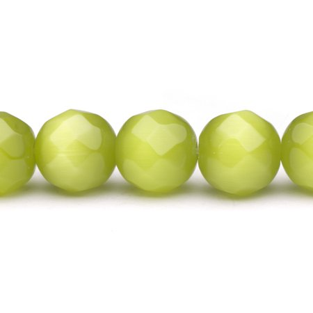 Faceted Cats Eye Round Glass - Bright Olive Cat's Eye Beads Faceted Round Fiber Optic Glass Beads 12mm