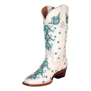 Ferrini Western Boots Womens Country Lace Square Toe White 82871-19