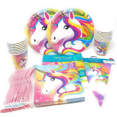Unicorn Birthday Party Supplies Set For 20 Paper Plates Cups
