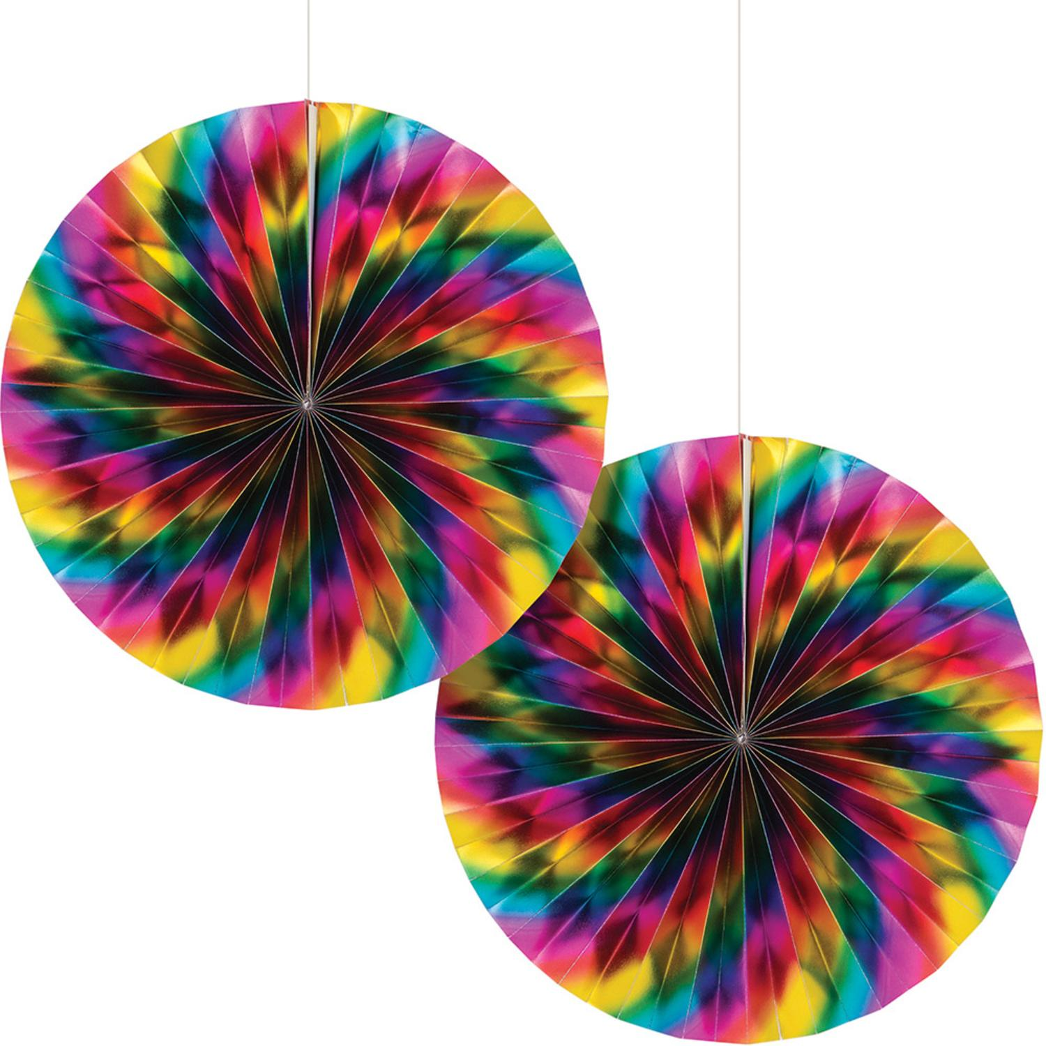 Club Pack of 12 Multi Colored Paper Fan Hanging Party Decorations  7""