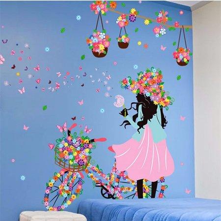 Flower & Girl Removable Wall Art Sticker Vinyl Decal DIY Room Home Mural Decor Wall Corner