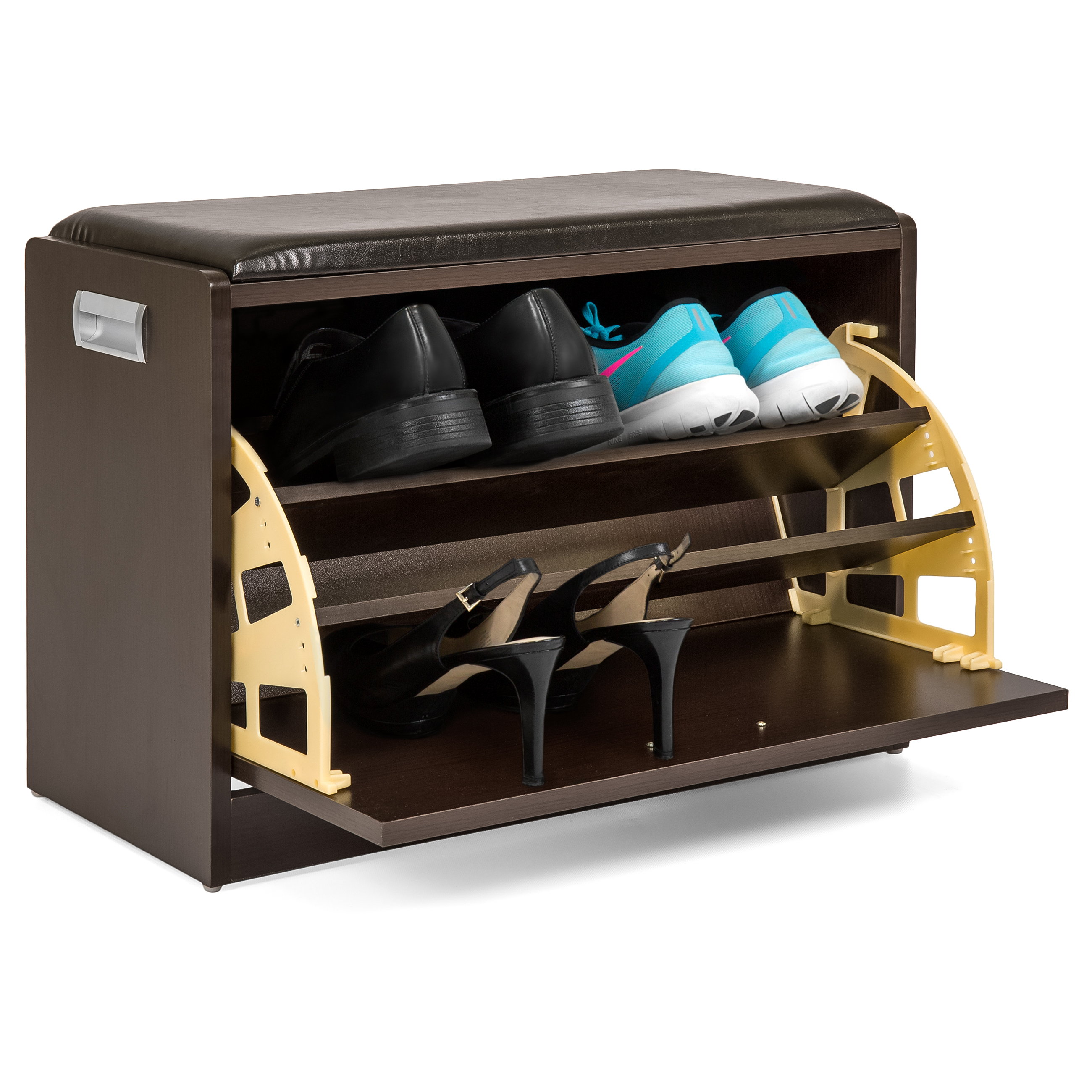 Best Choice Products Wood Shoe Bench Storage Ottoman Shelf W/ Handle (Brown)