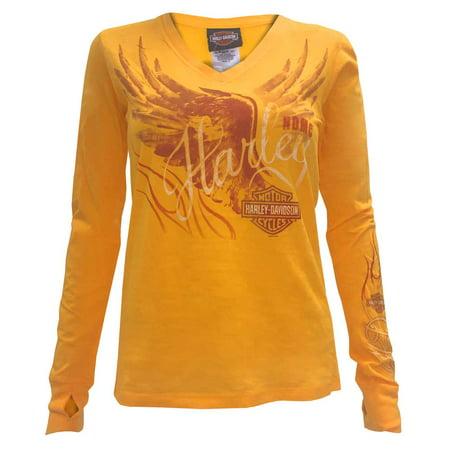 8e2eece5d7d8 Harley-davidson - Women's Winged Long Sleeve Deep V-Neck Shirt, Orange  5U15-HB6Y - Walmart.com