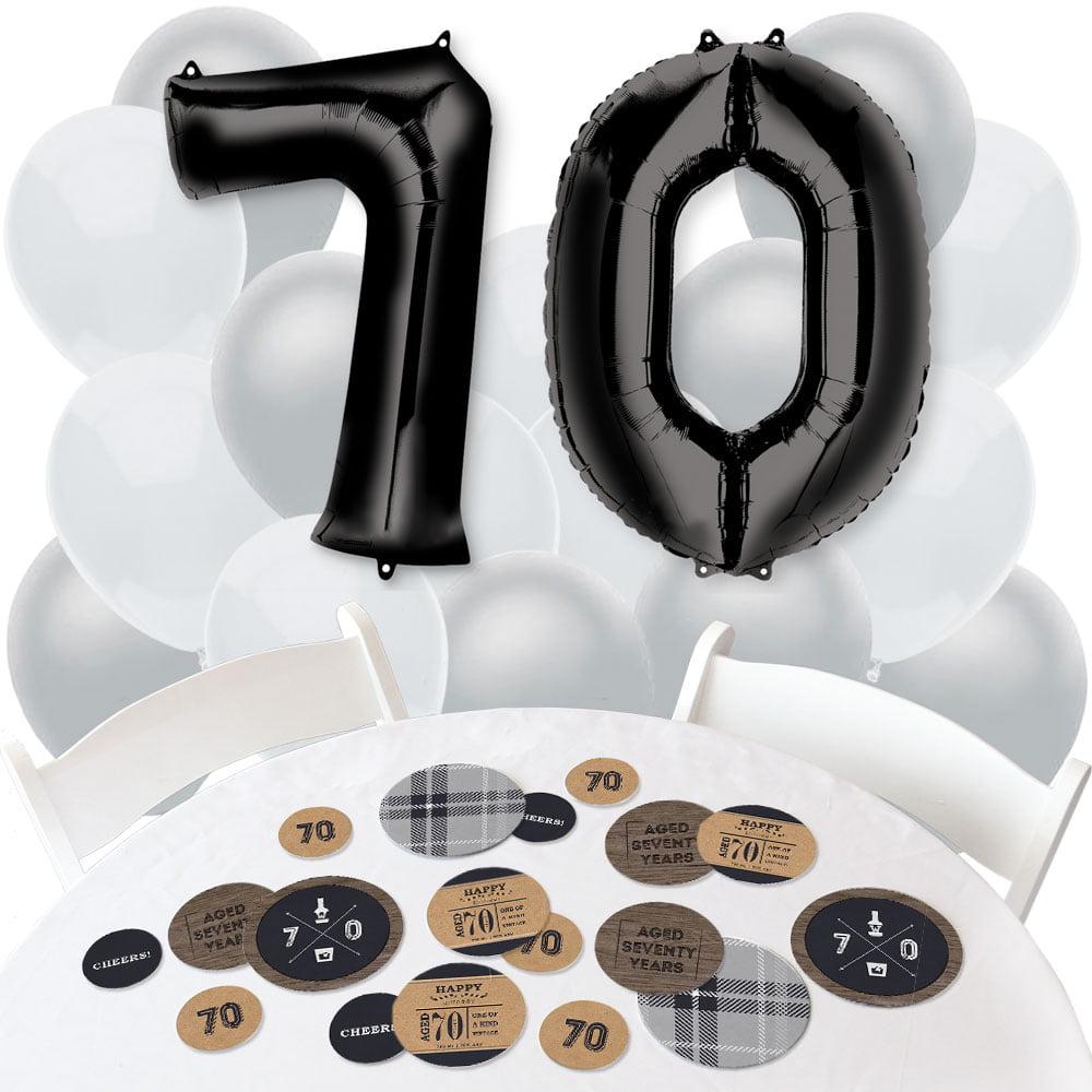 70th Milestone Birthday - Confetti and Balloon Birthday Party Decorations - Combo Kit