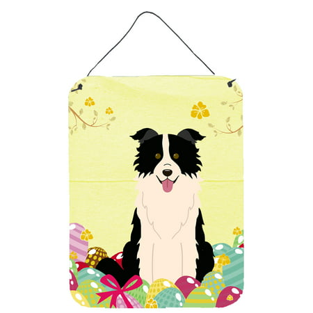 Easter Eggs Border Collie Black White Wall or Door Hanging Prints Easter Eggs Photo Border