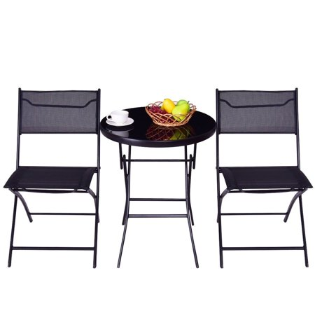GHP Set Of 3 Black Steel Textile Fiber & Tempered Glass Folding Round Table & 2 Chairs - Folding Glass Table