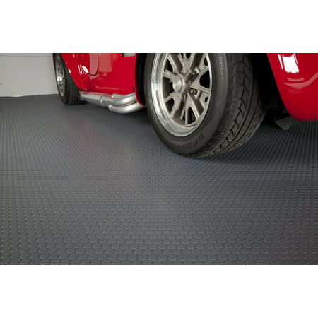 G-Floor 60 Mil Small Coin 5'x10' Slate Grey Parking Pad Garage Floor Cover/Protector Garage Floor Cover