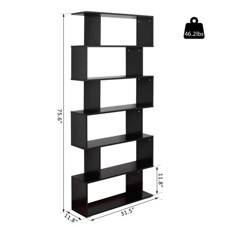 Wooden S Shape Bookcase 6 Shelves Storage Display Home Office Furniture - image 5 of 7