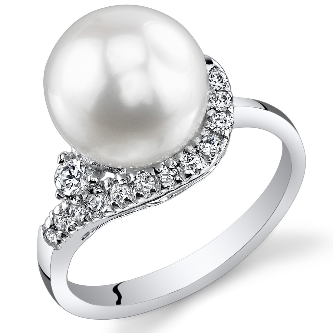 925 Sterling Silver Rhodium-plated 8-9mm White Freshwater Cultured Pearl Cubic Zirconia Ring