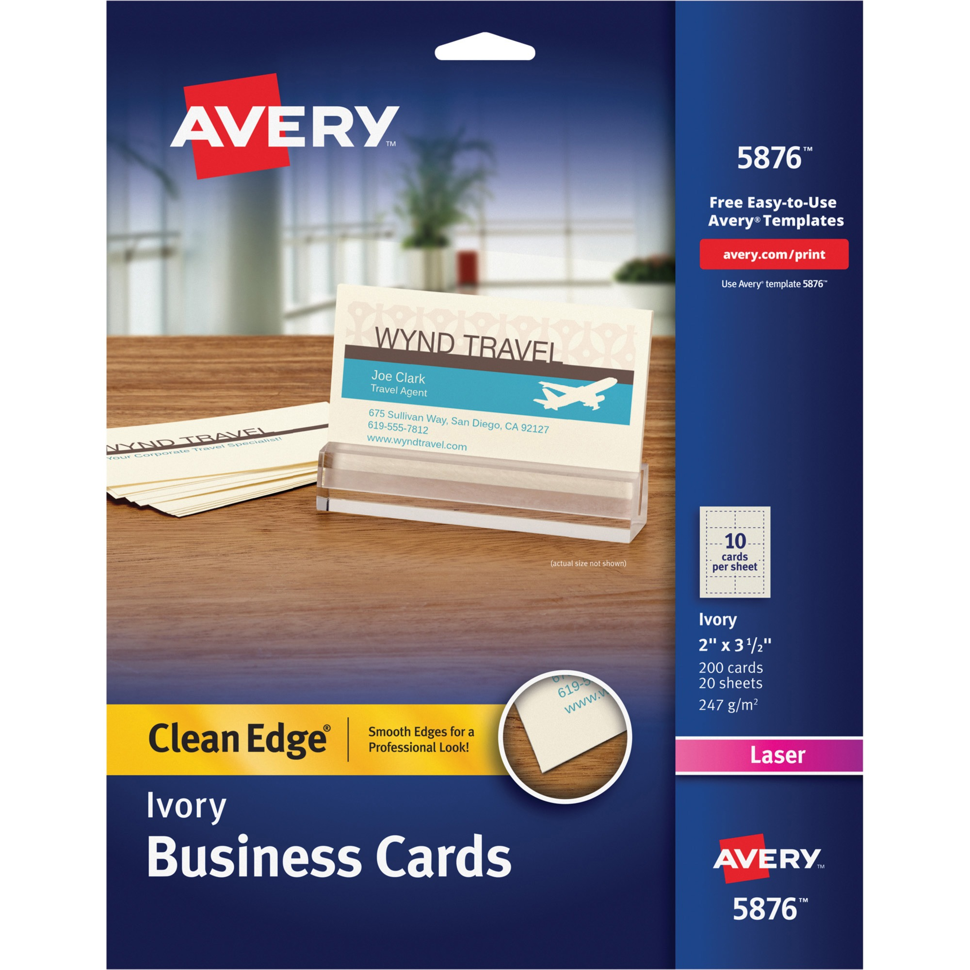 Avery Clean Edge Business Cards, Laser, 2 x 3 1/2, Ivory, 200/Pack ...