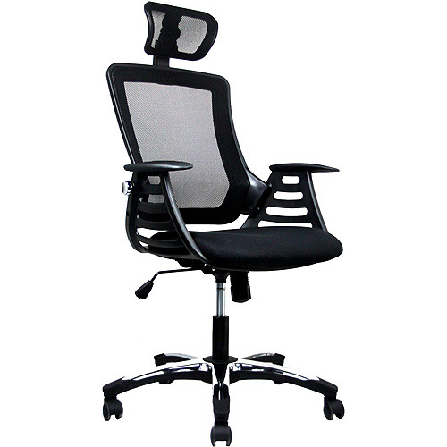 Techni Mobili Mesh High-Back Chair with Headrest and Molded Arms, Black