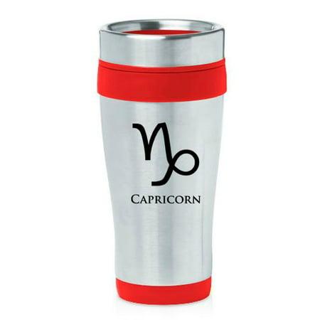 16oz Insulated Stainless Steel Travel Mug Horoscope Zodiac Birth Sign Capricorn (Red)