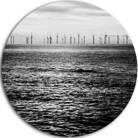 - DESIGN ART Designart 'Wind Turbines Black and White' Landscape Large Disc Metal Wall art