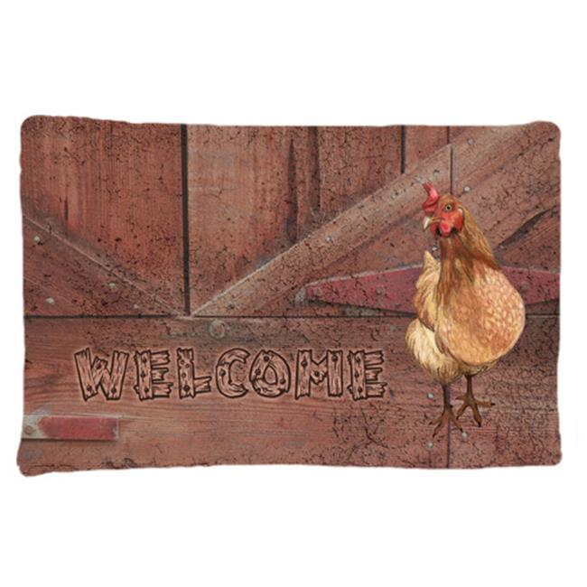 Carolines Treasures SB3075PILLOWCASE Welcome Chicken Moisture Wicking Fabric Standard Pillowcase