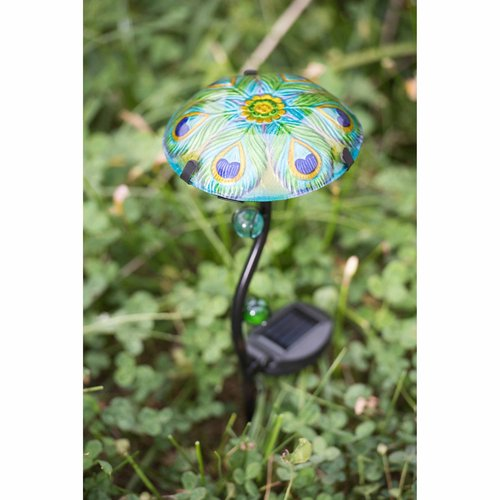 Sunjoy 110309022 Mushroom LED Solar Garden Stake Made of Iron and Glass in Set of 3 with Peacock Design,... by SunNest Services LLC