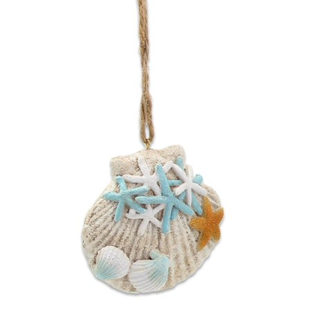 Shells and Starfish Blue and White Christmas Holiday Ornament - Resin Starfish