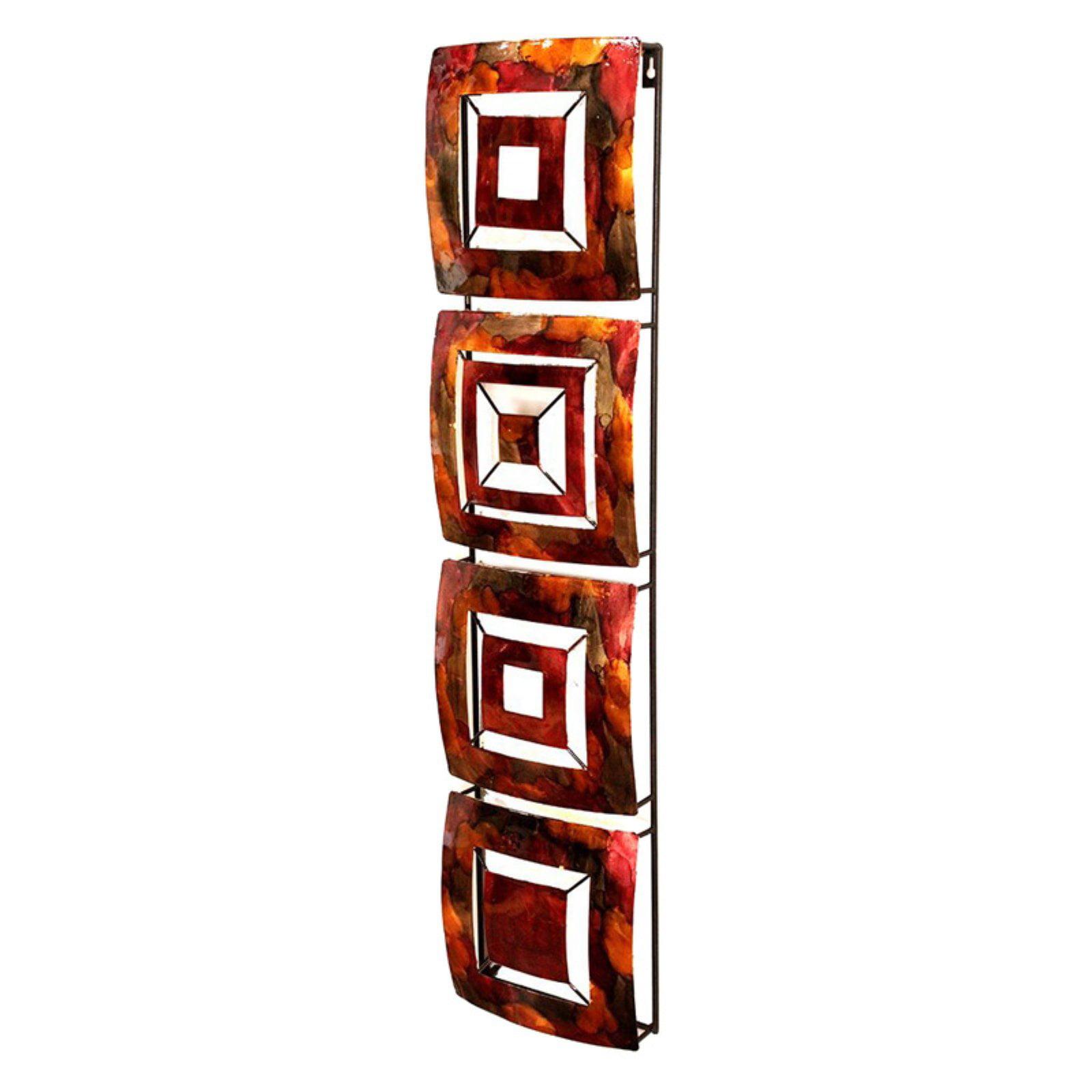 Heather Ann Creations 4 Geometric Squares Panels Metal Hanging Wall Art