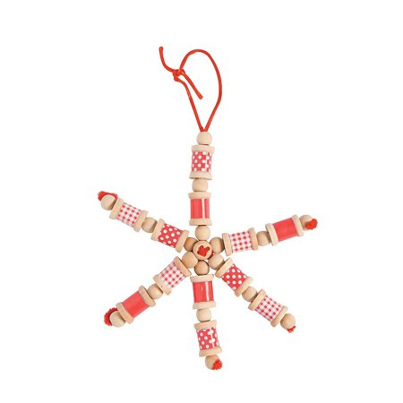 IN-13613492 Red & White Spool Snowflake Christmas Craft Kit