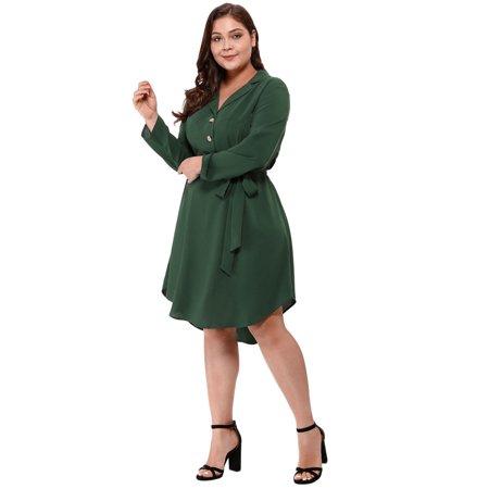 Agnes Orinda Women's Plus Size Button Down Lapel Vintage Shirt Dress Green 2X - image 5 of 6