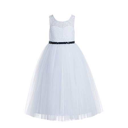 62bd6edcde16 Ekidsbridal - EkidsBridal White Floral Lace Scoop Neck A-Line Flower Girl  Dresses Keyhole Back Communion Dresses Pageant Dress 178 - Walmart.com