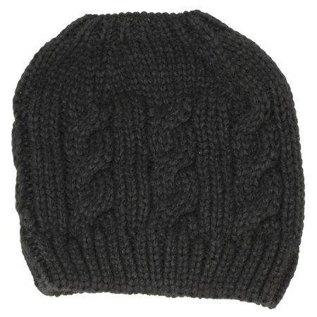 Best Winter Hats Womens Cable Knit Messy Bun Ponytail Beanie - Black 498a17f7e4a