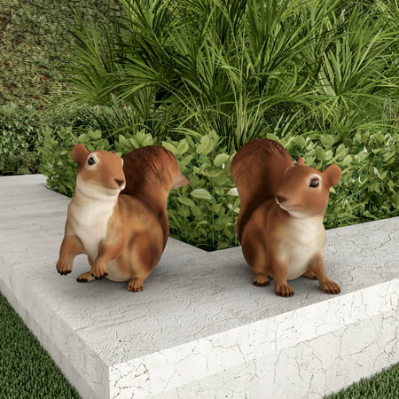 Squirrel Statues-Resin Animal Figurines for Outdoor Lawn and Garden Decor-For Flower Beds, Fairy Gardens, Backyards and More by Pure Garden (Set of 2) ()