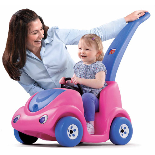 Generic Push Around Buggy features storage space under the hood and a safety seat belt, Pink