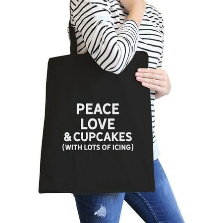 Peace Love Cupcakes Black Canvas Bag Cute Daily Purse Eco Bags