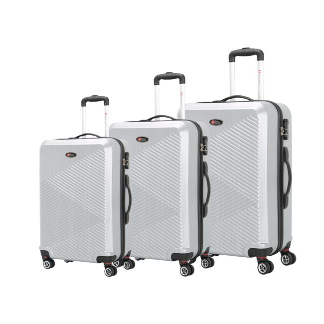 Brio Luggage C607-SILVER Pet Ridged Luggage Set - Silver