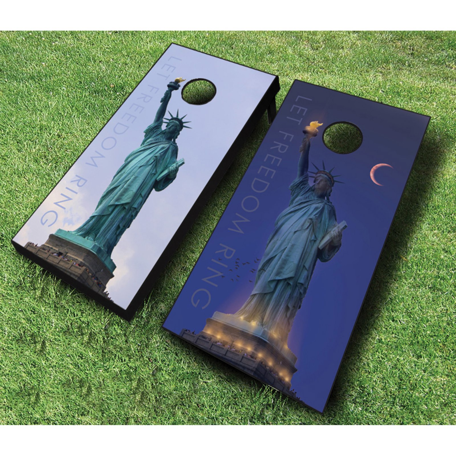 AJJ Cornhole Let Freedom Ring Cornhole Set with Bags by