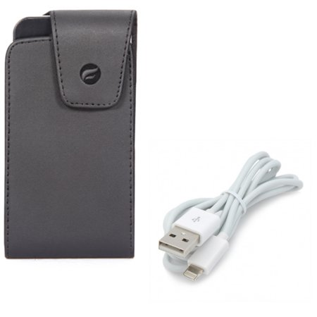 Leather Case Belt Clip w Charger Cord USB Cable for #model_series - Swivel Holster Vertical Cover Pouch and Power Wire Sync Fast Charge Data (Winchester Model 77 Clip)