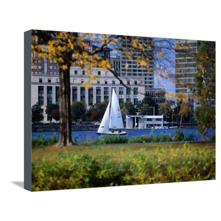 Sailing off the Esplanade on the Charles River, Boston, Massachusetts, USA Stretched Canvas Print Wall Art By Angus Oborn