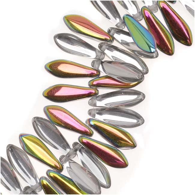 Czech Pressed Glass 5 x 16mm Dagger Beads - Crystal Vitrail (25)