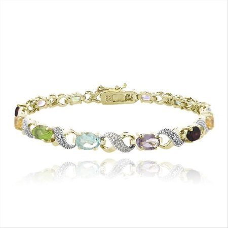 Gemstone Bracelet - 18K Gold Plated 6ct Multi Color Gemstone & Diamond Accent Infinity Links Bracelet