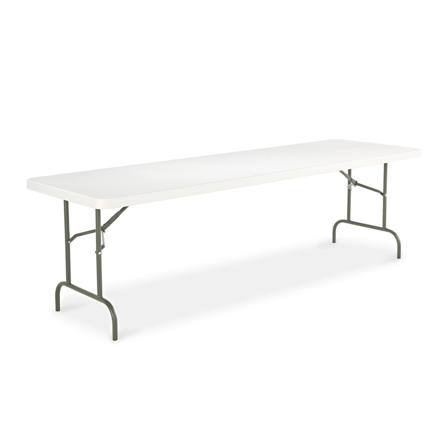 Alera Resin Rectangular Folding Table, Square Edge, 96w x 30d x 29h, Platinum by ALERA