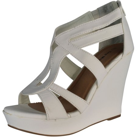 Top Moda Womens Lindy-3 Strappy Fashion Wedge - White Leather Wedge