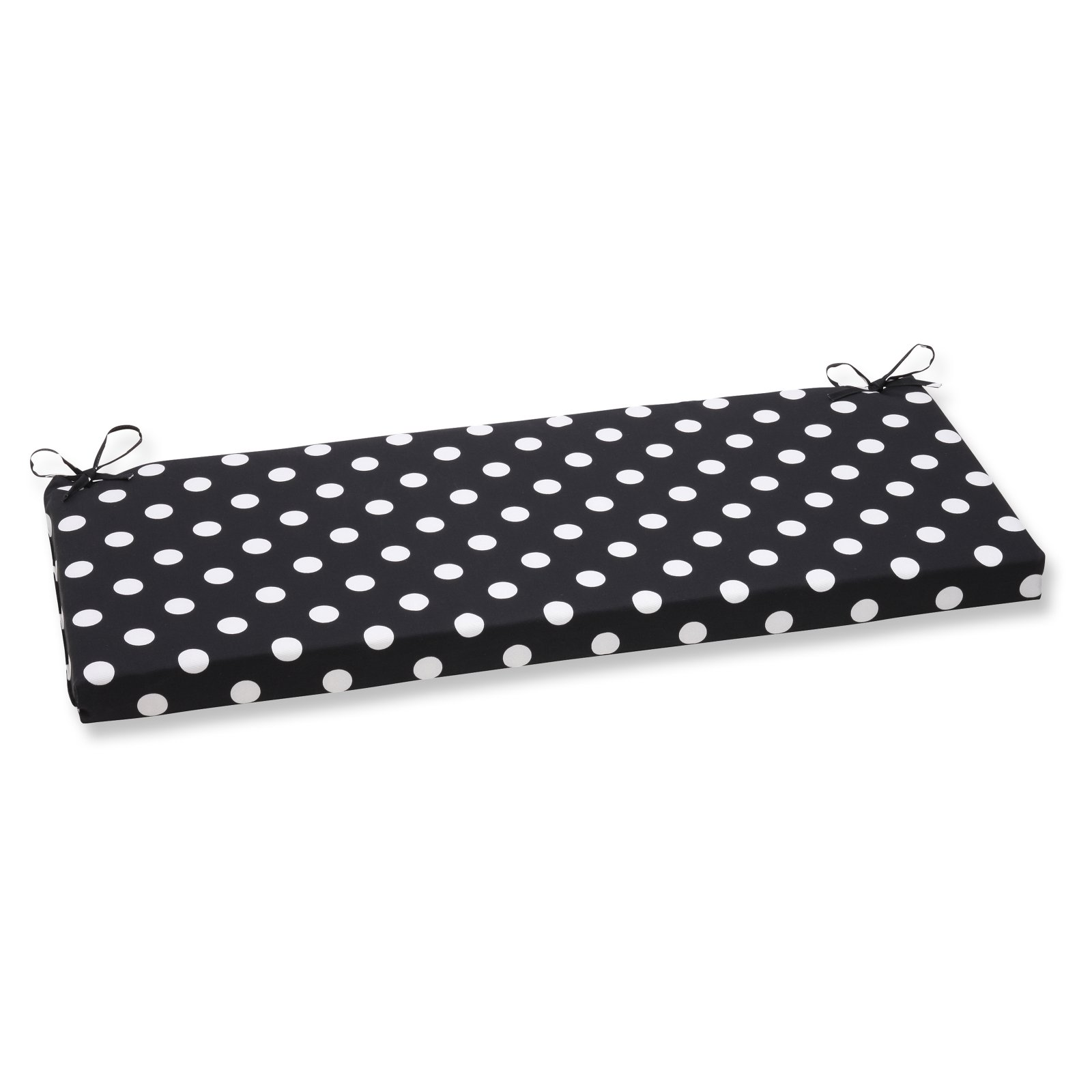 Pillow Perfect Outdoor/ Indoor Polka Dot Black Bench Cushion