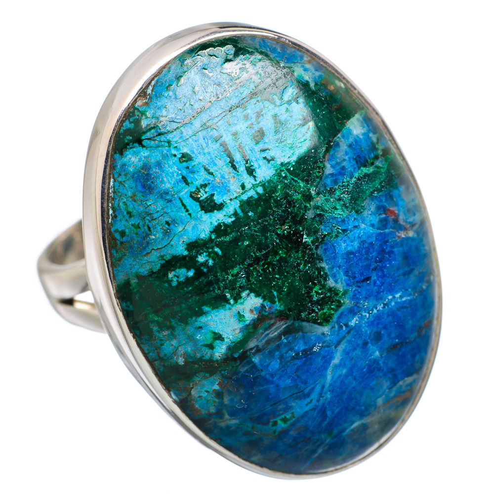 Ana Silver Co Large Chrysocolla 925 Sterling Silver Ring Size 7 RING805010