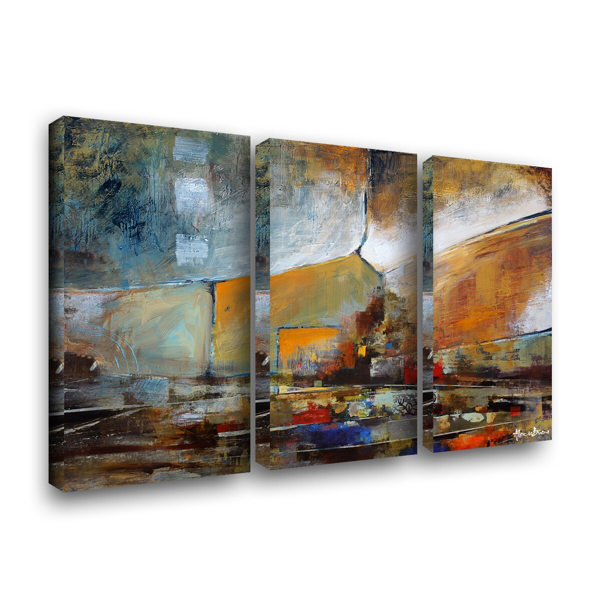 Ready2hangart Bueno Exchange Xxii 3 Piece Painting Print On Wrapped Canvas Set Walmart Com Walmart Com