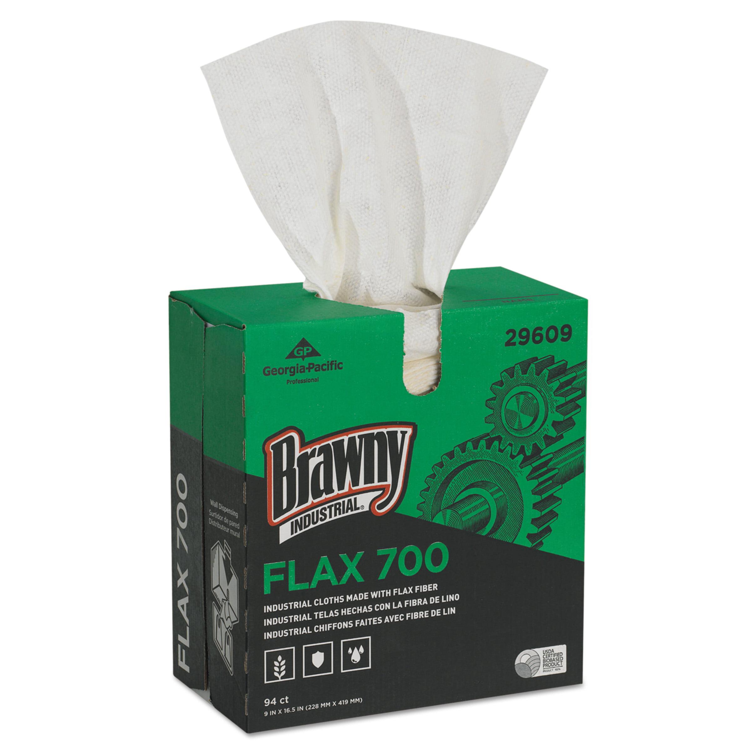 Brawny Industrial FLAX 700 Medium Duty Cloths, 9 x 16 1/2, White, 94/Box, 10 Box/Carton -GPC29609
