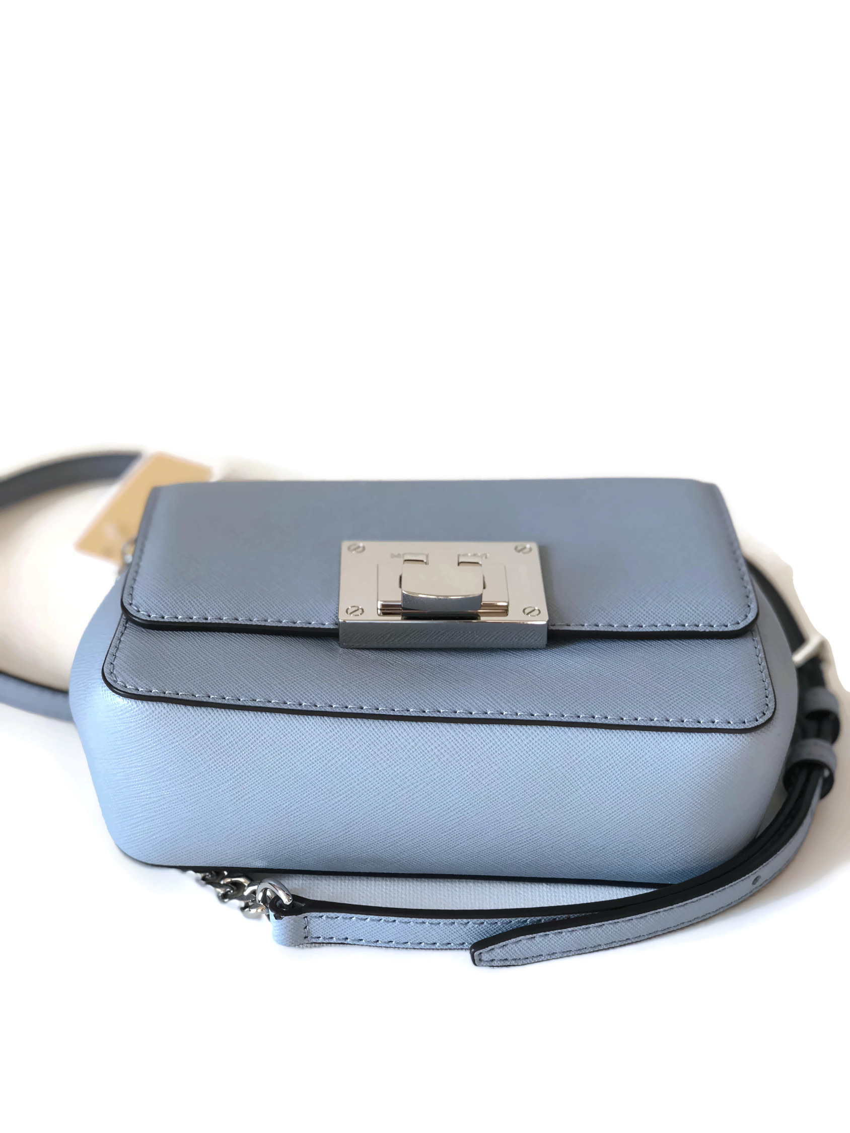 ed582f8c91c5 MICHAEL Michael Kors Tina Small Saffiano Leather Clutch Crossbody Bag - Pale  Blue - Walmart.com