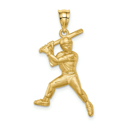 14k Diamond Cut Baseball - 14K Yellow Gold Plated Brushed & Diamond Cut Baseball Player Pendant