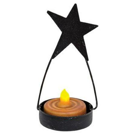 Black Tin Folk Art Star Tealight Candle Holder Country Primitive Décor