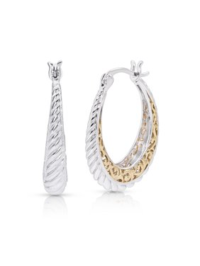32cc5d578 Product Image Sterling Silver 14K Gold Plated Two Tone Twist Hoop Earring