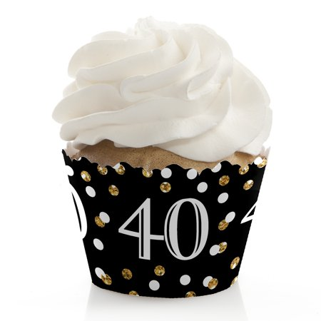Adult 40th Birthday - Gold - Birthday Party Cupcake Wrappers - Set of 12 - 40th Birthday Paper