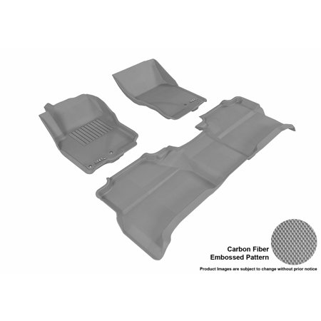 3D MAXpider 2005-2017 Nissan Frontier Crew Cab Front & Second Row Set All Weather Floor Liners in Gray with Carbon Fiber Look Cab Grey Front Floor Liners