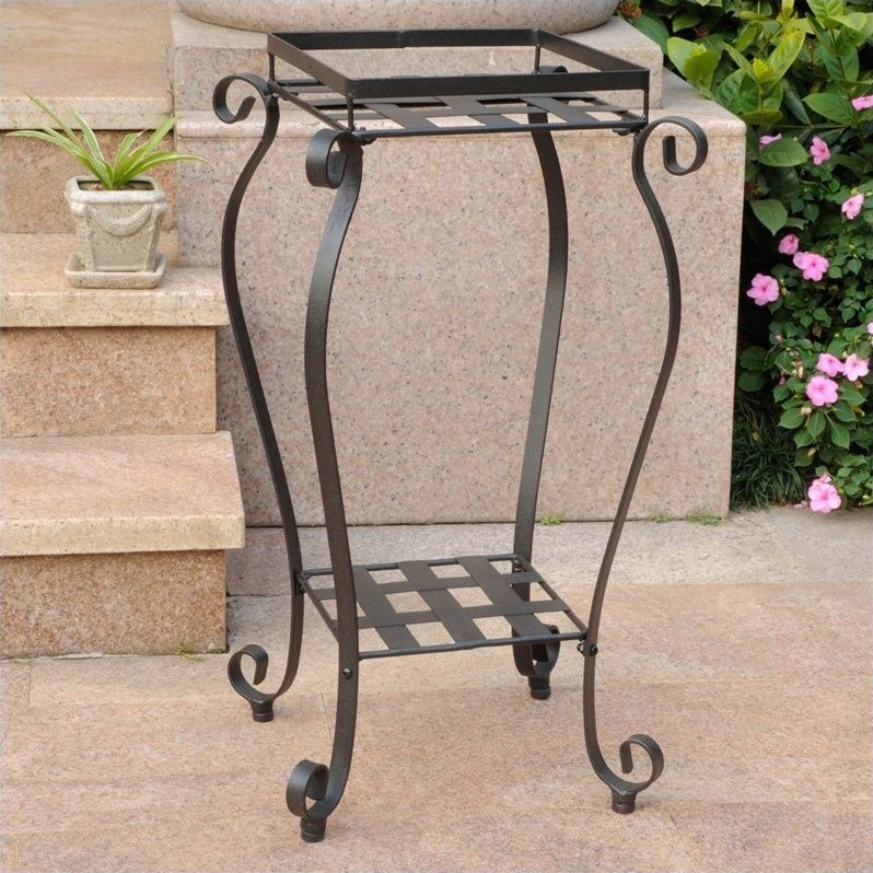 International Caravan Mandalay Iron Plant Stand in Matte Brown by International Caravan