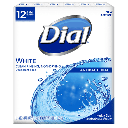 Dial Antibacterial Deodorant Bar Soap, White, 4 Ounce Bars, 12