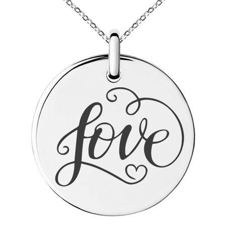 Small Charm Necklace (Stainless Steel Love Heart Calligraphy Swirl Engraved Small Medallion Circle Charm Pendant)
